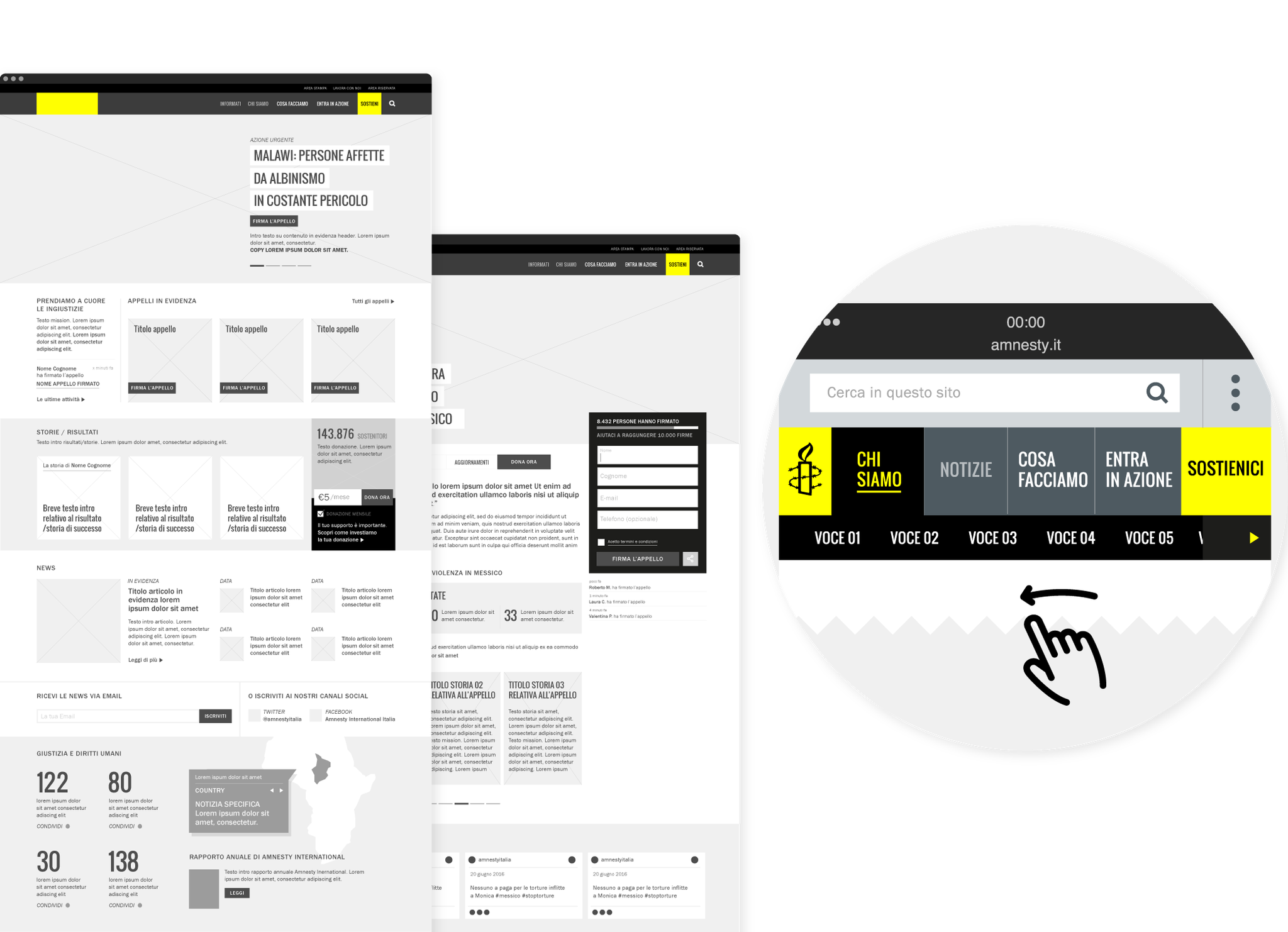 image of the website wireframe