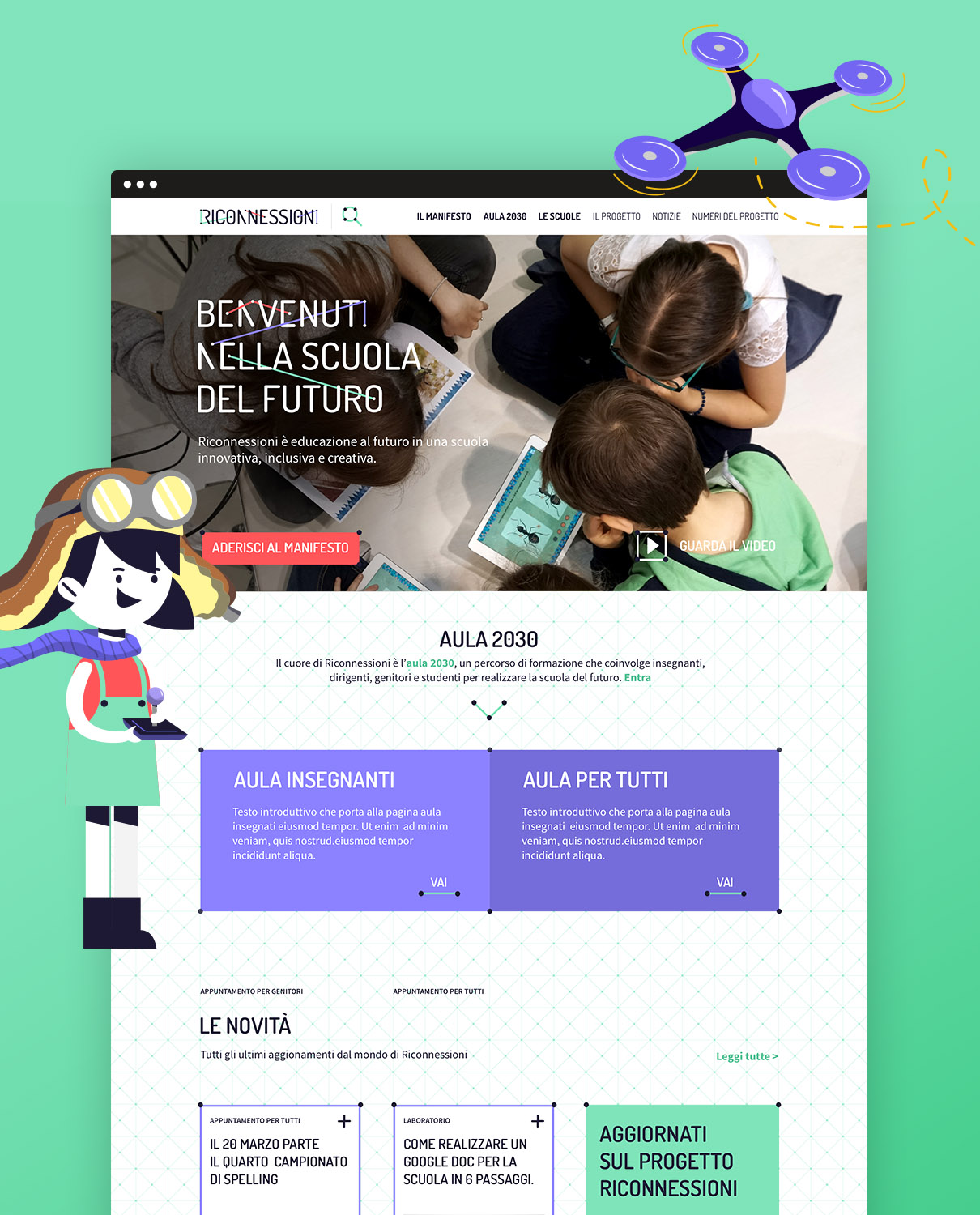mockup website with illustration - riconnessioni project
