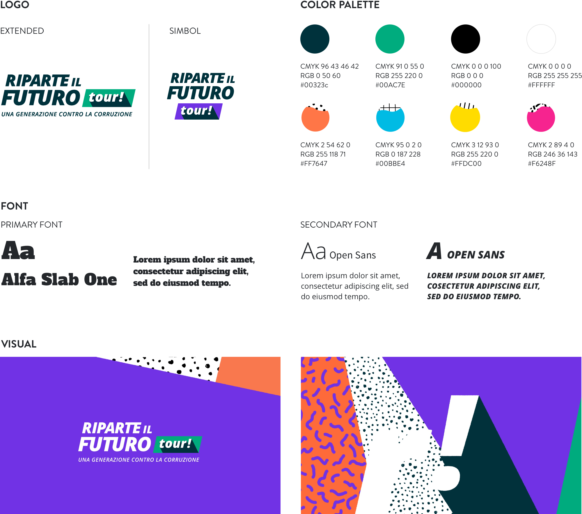 image of the logo, the colour palette and the fonts selected for riparte il futuro tour