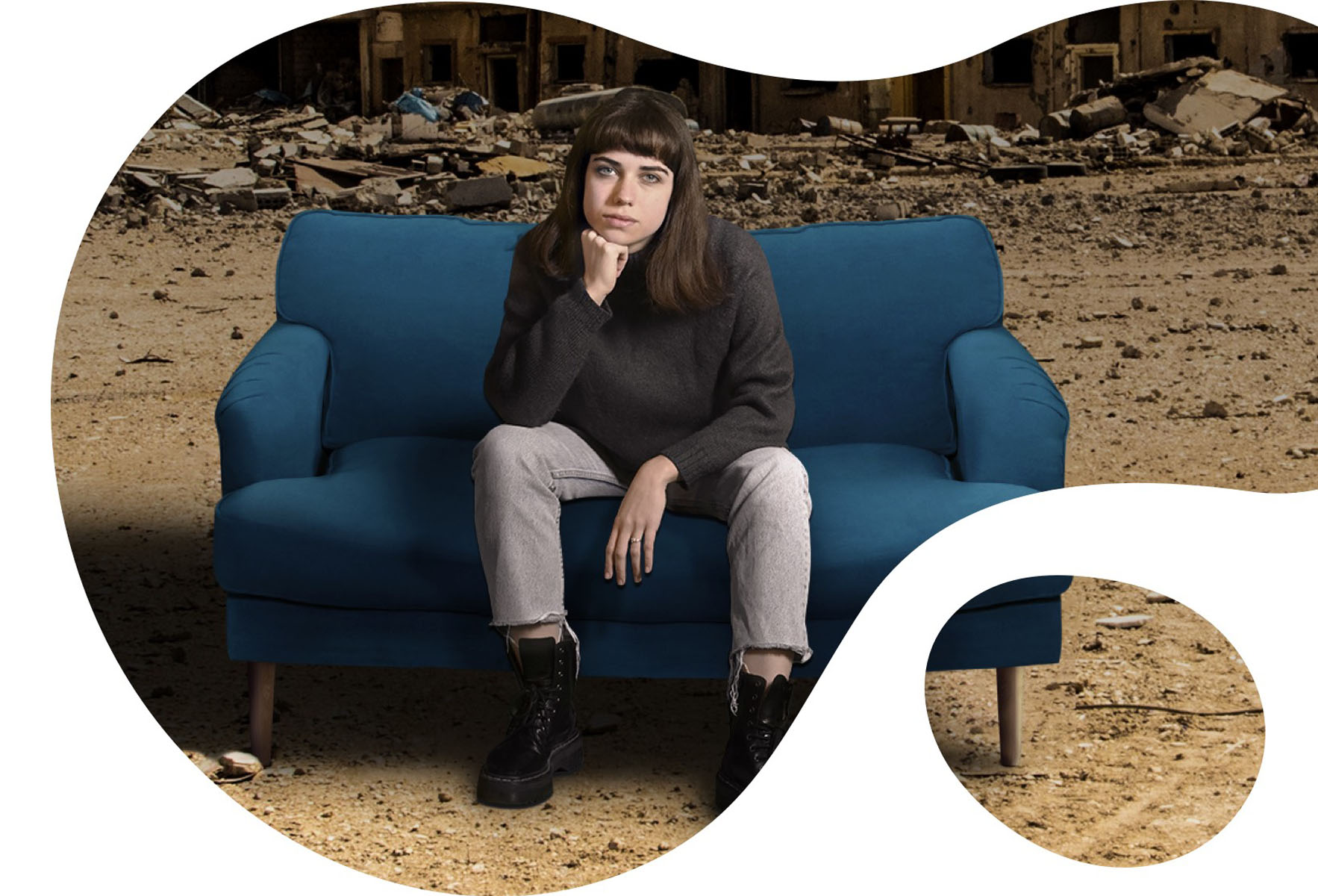 bubble image of a girl seated on a couch with a war background