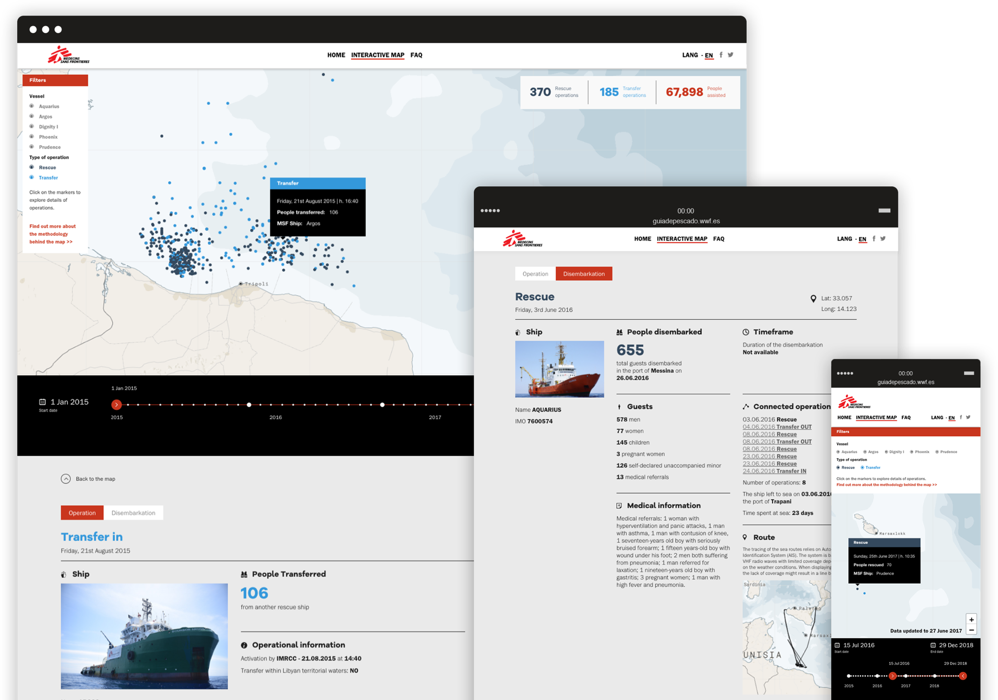 mockup website for interaction section of saving lives at sea doctors without borders