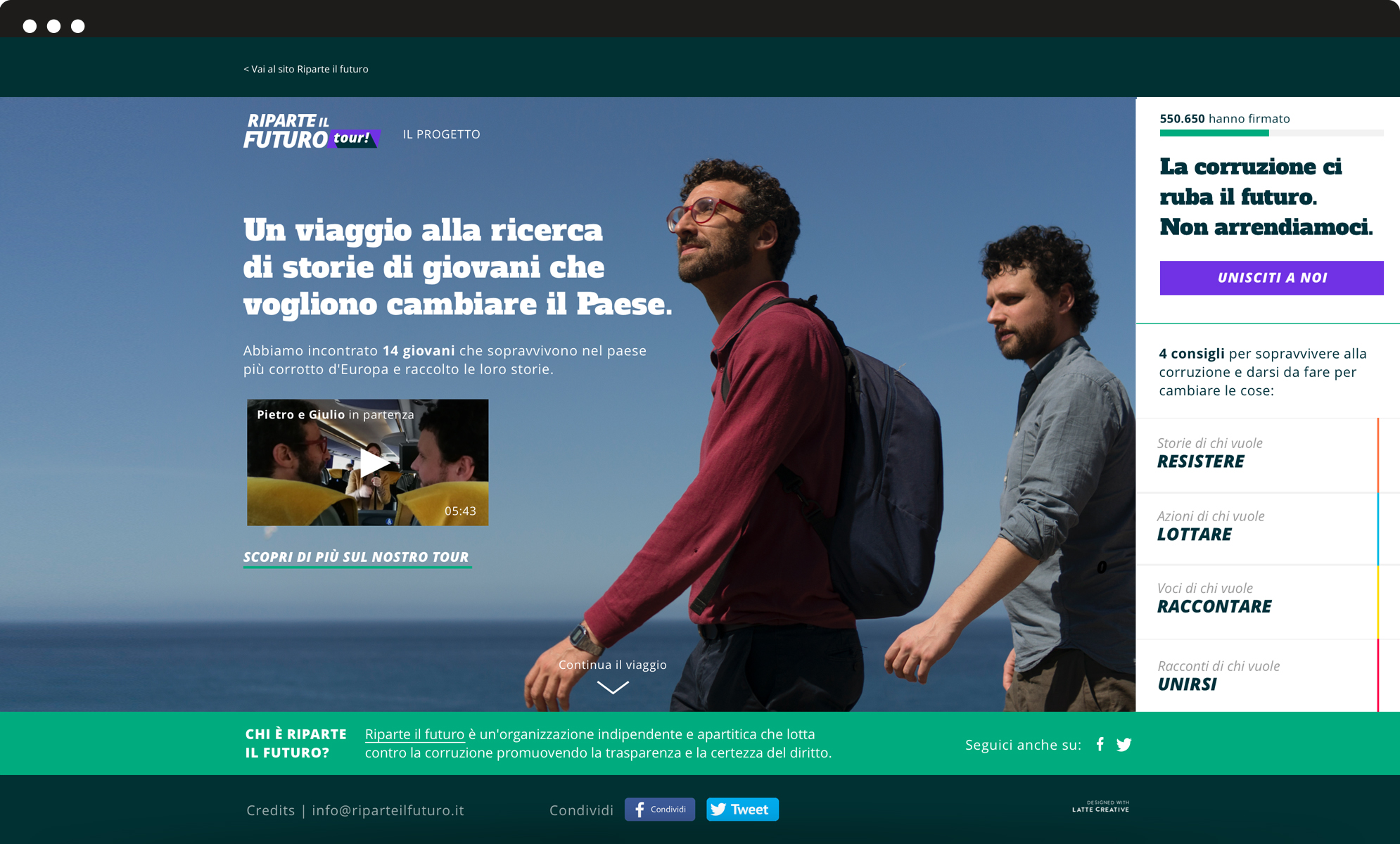 image of the website of riparte il futuro tour