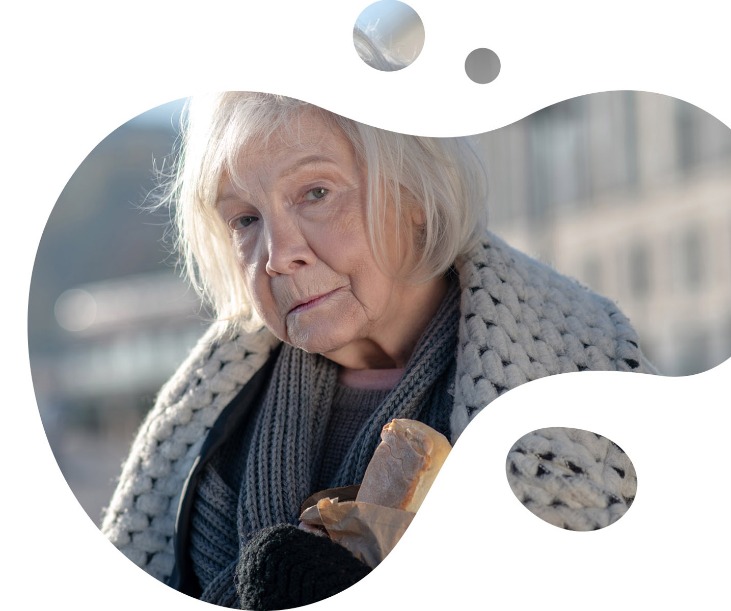 old homeless woman in a bubble