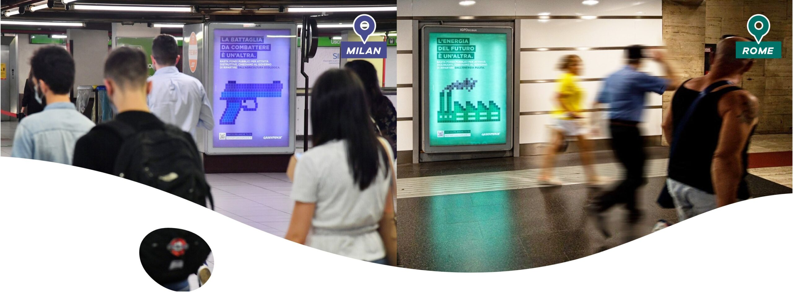 greenpeace campaign on metro in milan and rome