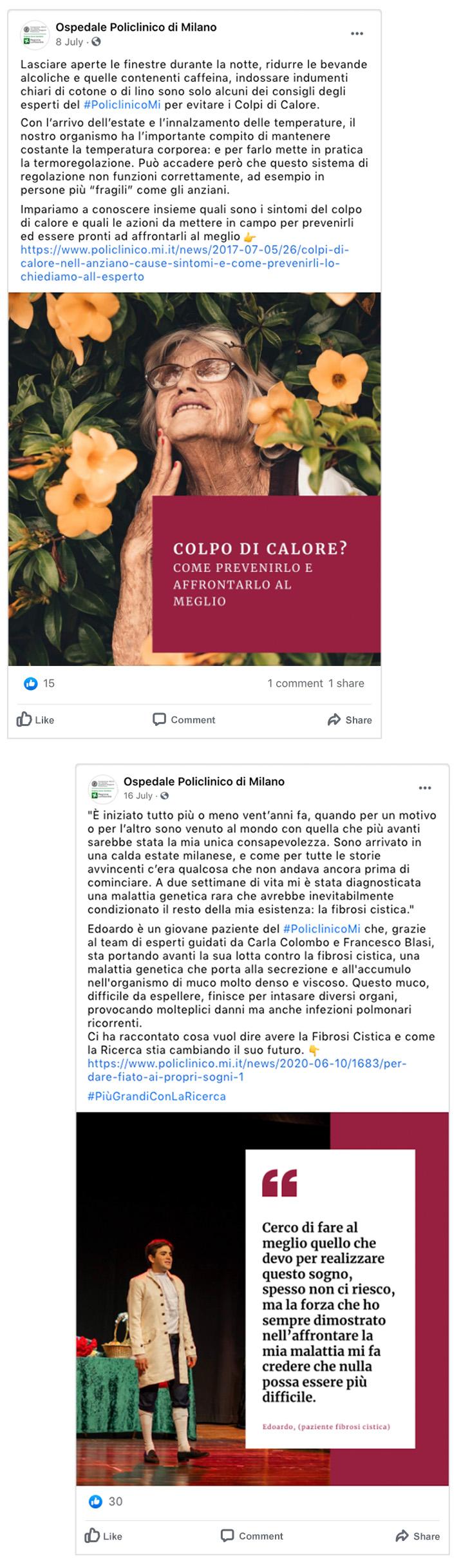 image of social media post of policlinico