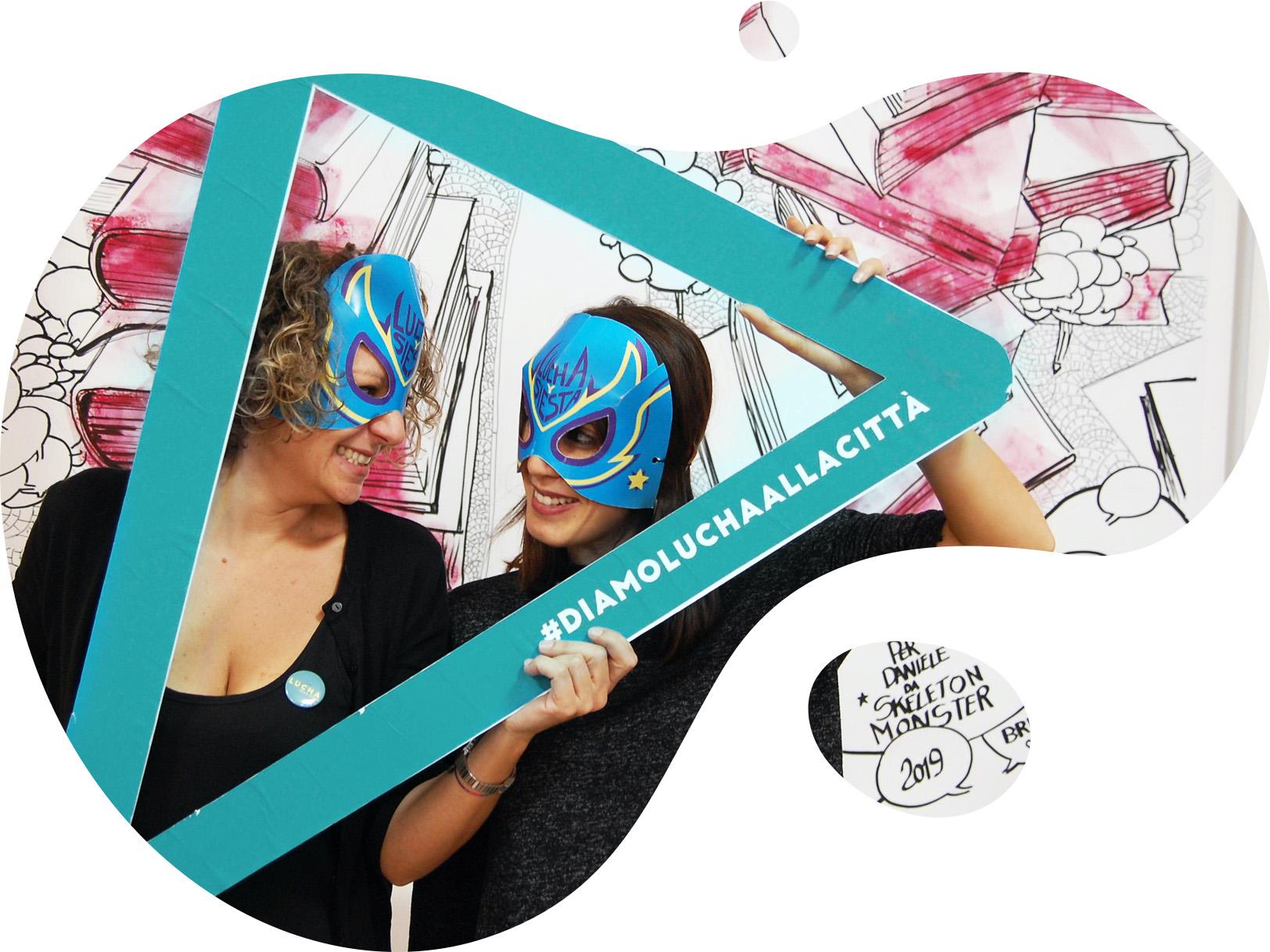 masked luchadoras holding roof shape