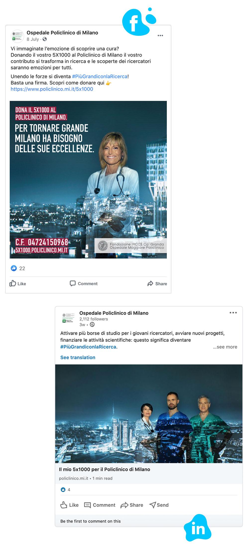 facebook and linkedin post policlinico di milano