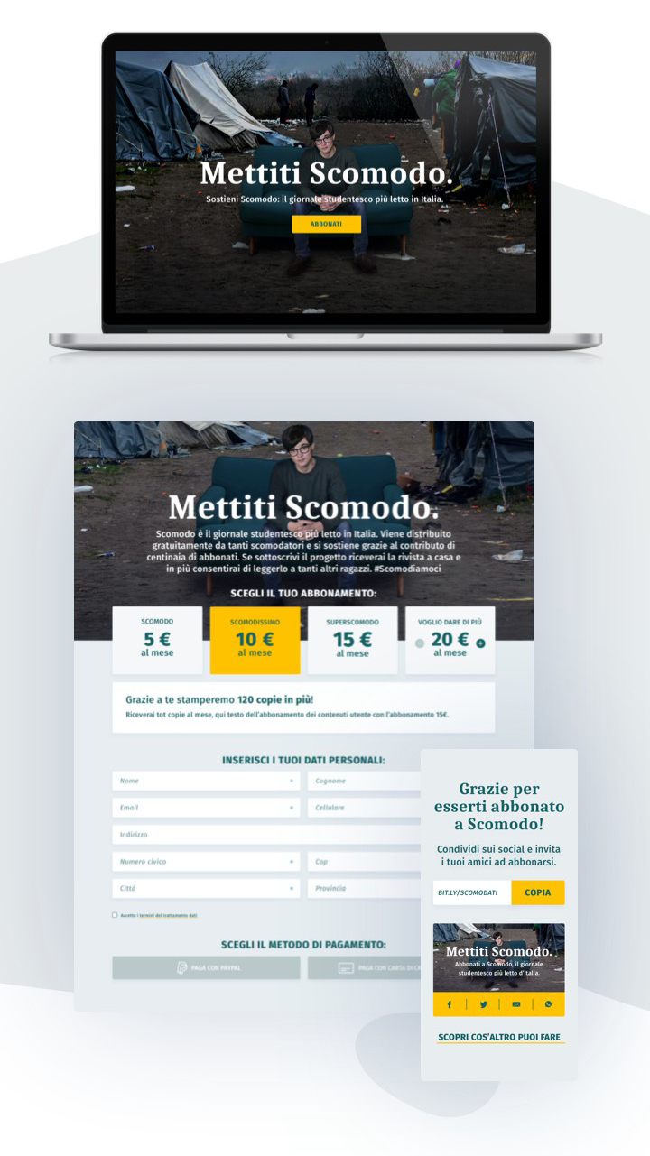 mockup of landing page and subscription form of scomodo campaign