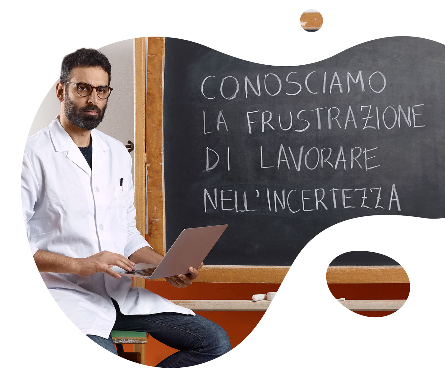 researcher seated on a school desk flc cgil campaign